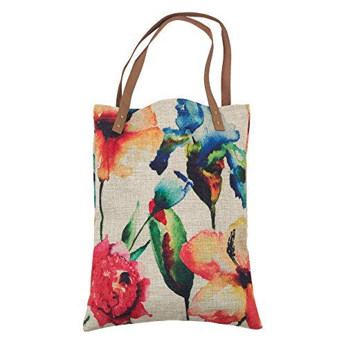 SARO LIFESTYLE Passion Rouge Watercolor Floral Market Tote Bag, 14