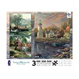 Ceaco Thomas Kinkade 3 in 1 Puzzle - Serenity Cove, The Old Fishing Hole, Village Inn offers