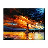Wanny Denton 100% Hand Painted Oil Paintings Wall Arts Lighthouse Abstract Wall Paintings on Canvas Modern Framed Wall Artworks for Living Room Bedroom Office Hallway (12x16 inch)