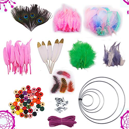 Dushi DIY Feathers Dream Catcher Craft Kits with
