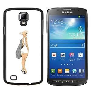 EJOOY---Cubierta de la caja de protección para la piel dura ** Samsung Galaxy S4 Active i9295 ** --lindo diseño de moda rubia alta costura blanco