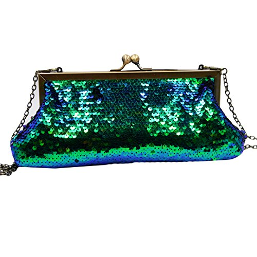 Felice Beaded Sequin Mermaid Design Gold Frame Kissing Lock Evening Clutch Prom Party Clutch Handbag