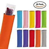 DaCool Antifreezing Popsicle Bags, 20 Pack Freezer Popsicle Holders Reusable Neoprene Insulation Ice Pop Sleeves Bright Colors & Stitched Edges Design