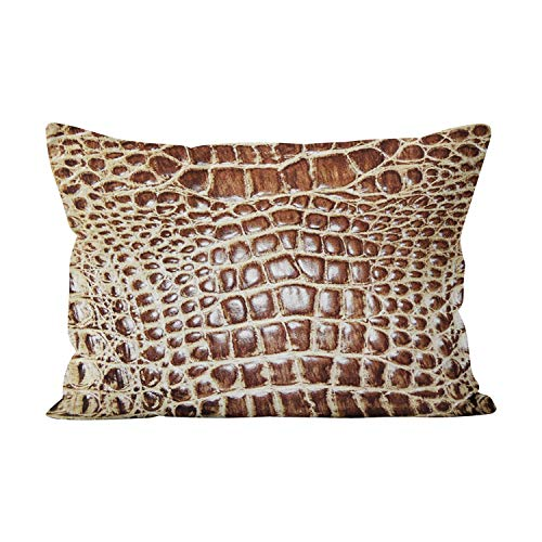 (Suklly Leather Look Alligator Brown Tan Cute Hidden Zipper Home Decorative Rectangle Throw Pillow Cover Cushion Case 20x26 Inch Standard One Side Design Printed Pillowcase)