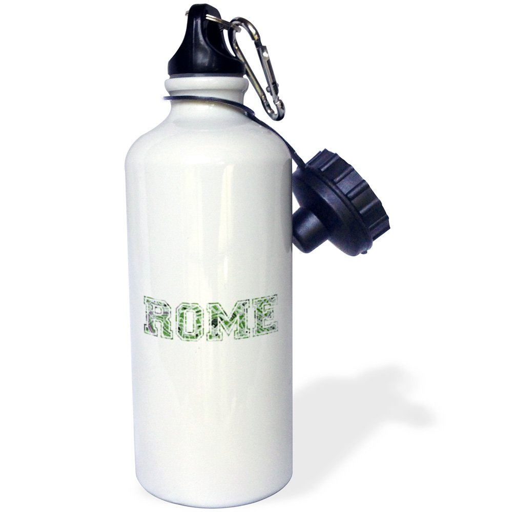 3dRose wb_151372_1 ''Rome-green word art text on white made from vintage Italian map-city souvenir-Italy-travel'' Sports Water Bottle, 21 oz, White