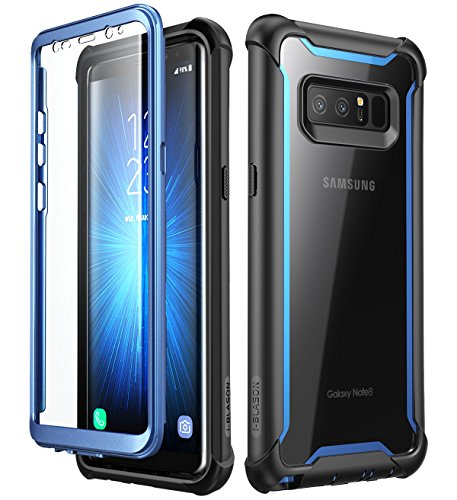 Samsung Galaxy Note 8 case?i-Blason [Ares Series] Full-Body Rugged Clear Bumper Case Built-in Screen Protector Samsung Galaxy Note 8 2017 Release (Black/Blue)