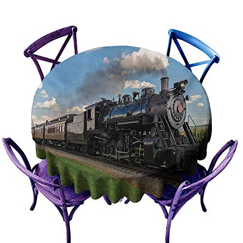 - Fashions Table Cloth,Steam Engine Vintage Locomotive in Countryside Scenery Green Grass Puff Train Picture,Table Cover for Kitchen Dinning Tabletop Decoratio,60 INCH,Blue Green Black
