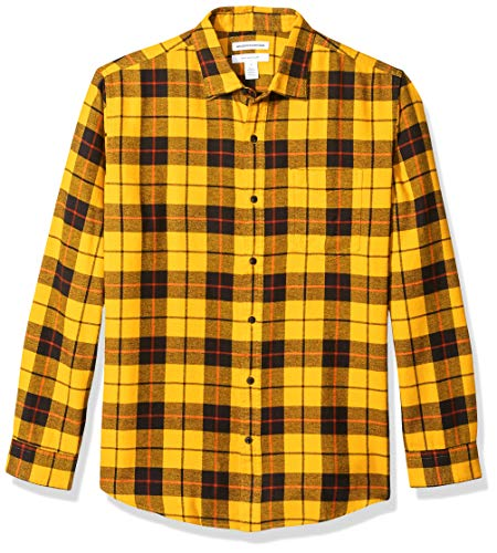 Amazon Essentials Men's Regular-Fit Long-Sleeve Plaid Flannel Shirt, Yellow, X-Large (Best Flannel Shirts For Guys)