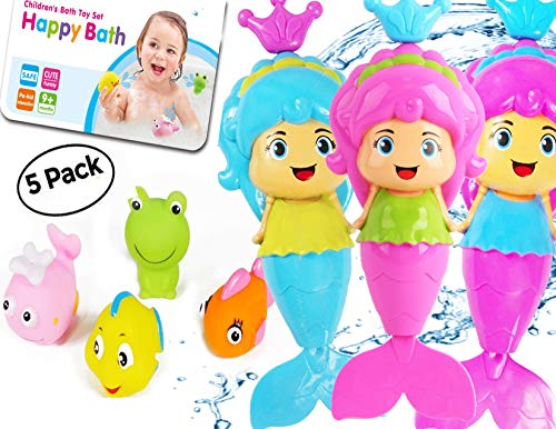 OML Cali Bath Toys for Girls | Mermaid (1) and Squirt Sea Animals (4) - Total 5 Pack - Swimming Mermaid Wind Up and Friends | Perfect Bath Time Toys Toddler - Original