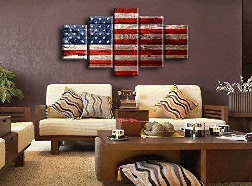 Retro USA US American Flag Military Canvas Prints Wall Art Independence Day Vintage Thin Blue Line Home Decor Picture