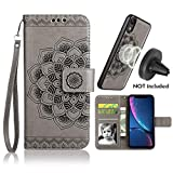 iPhone XR Case, iPhone XR Wallet Case with Detachable Slim Case, Card Solts Holder, Fit Car Mount,CASEOWL Mandala Flower Floral Embossed Vegan Leather Flip Lanyard Wallet Case for iPhone XR-Gray