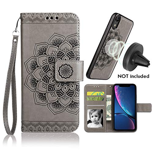 iPhone XR Case, iPhone XR Wallet Case with Detachable Slim Case, Card Solts Holder, Fit Car Mount,CASEOWL Mandala Flower Floral Embossed Vegan Leather Flip Lanyard Wallet Case for iPhone - Wallet Car Case