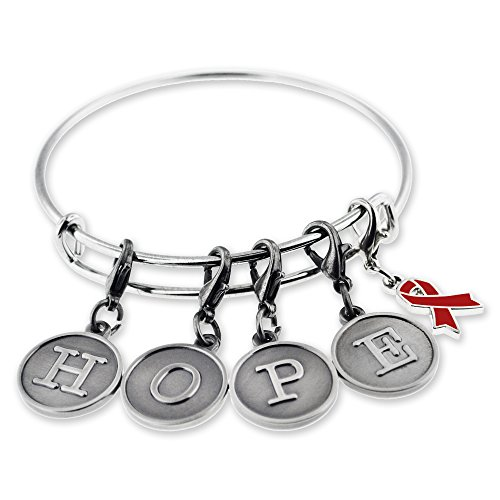 PinMart HOPE Burgundy Awareness Ribbon Charm Silver Bangle Bracelet Set Burgundy Silver Plated