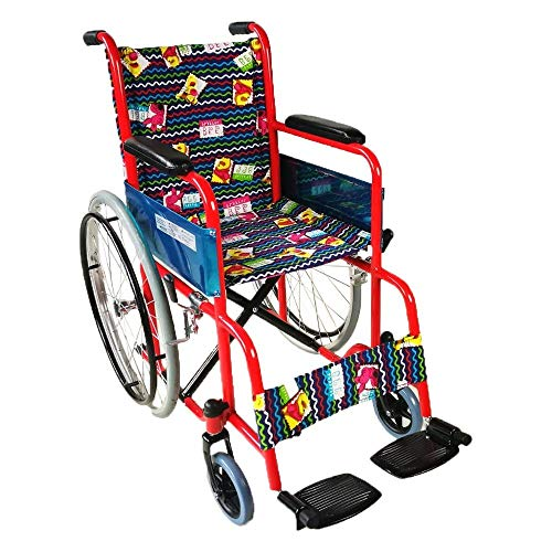 (Wenore Children's Wheelchair Cartoon Folding Lightweight Wheelchair is Suitable for Children with Limited Mobility. Fixed armrests and footrests. )
