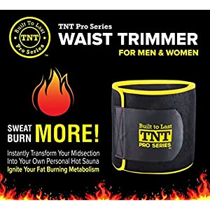 TNT Pro Series Waist Trimmer Weight Loss Ab Belt - Premium Stomach Fat Burner Sweat Wrap and Workout Waist Trainer
