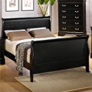 Louis Philippe Queen Sleigh Panel Bed Black