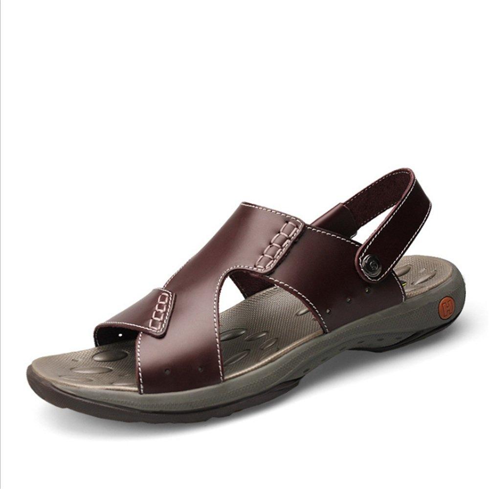 Sandalias De Verano Deportes Al Aire Libre De Cuero Cómodos Zapatos De Playa Sandalias Y Zapatillas Respirables Zapatos Casuales (23.0-28.5) CM 42 2/3 EU|Rojo