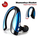 Dostyle Bluetooth Headset, Wireless Headphones In-ear Earphones Sweatproof Voice Command Earbuds With Mic, Right-Ear Wearing Design (Blue)