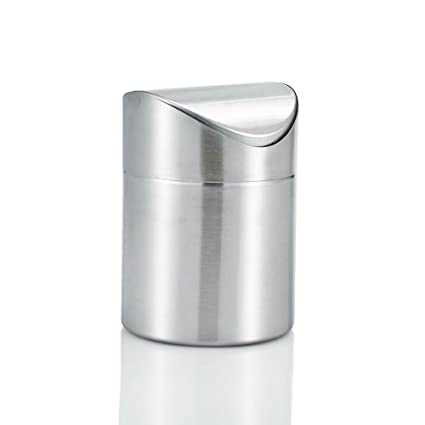 Amteker Mini Countertop Trash Can, Brushed Stainless Steel Table Desk Trash,  Swing Top Trash