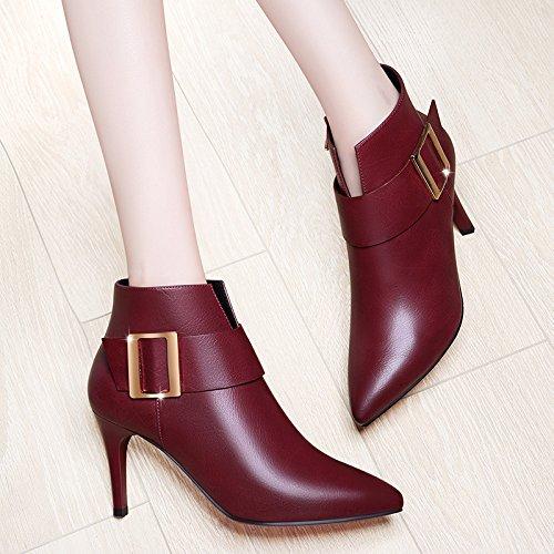 gules D'Hiver En Stiletto Vin Et Botte Cachemire Noir KHSKX Le Chaussures Pourpre Cuir Noir Rouge Mode Des Bottes Conseils Chaussures wt1H4Pq