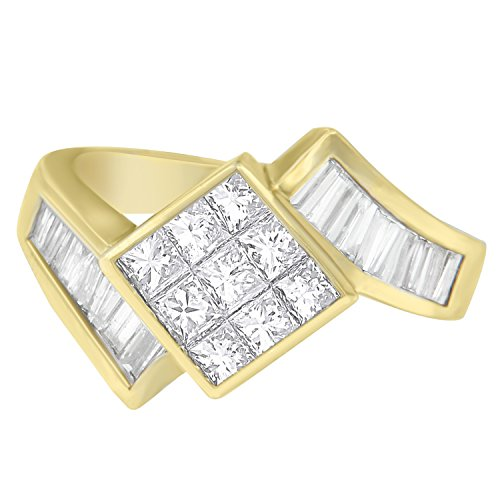 Original Classics 14K Yellow Gold Princess and Baguette Cut Diamond Ring (1.90 cttw, G-H Color, SI2-I1 Clarity)