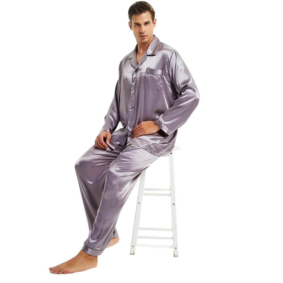 Mens Silk Satin Pajamas Set Sleepwear Loungewear S~4XL Plus_Gifts_7-12days to USA M713