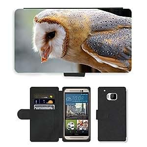 PU LEATHER case coque housse smartphone Flip bag Cover protection // M00129871 Lechuza común Búho Alimentación // HTC One M9