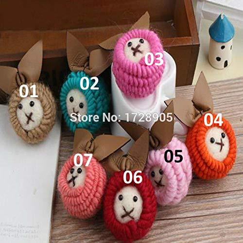 Calvas Wovened Colorful Handmade Mini Order 3Pcs 65x45mm 3D Rabbit with Bow Knot Wool Felt Ball DIY for Rugs Jewelry Home Decor - (Item Diameter: 30)