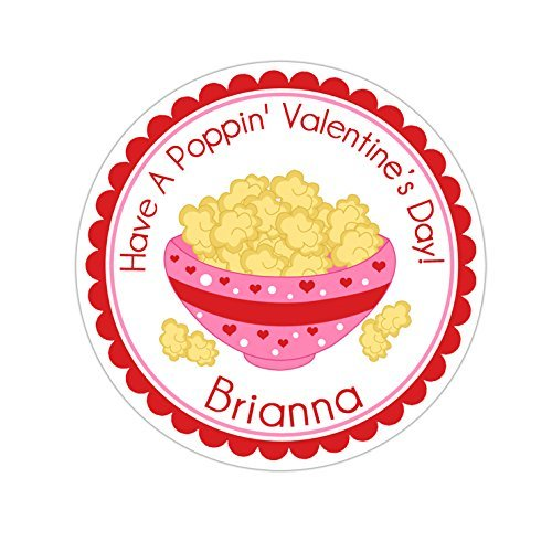 Personalized Customized Valentine's Day Gift Stickers - Pink Popcorn Bowl - Round Labels - Choose Your Size (Goodies Factory The Popcorn)