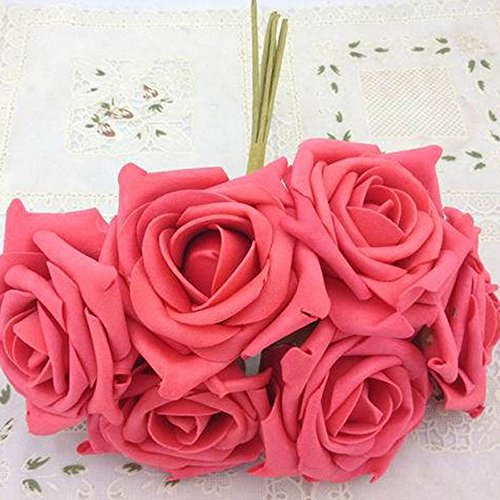 Artificial Flower Foam Roses Bridal Wedding Party Bride Bouquet Rose Red - 7