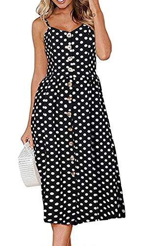 ECHOINE Retro Black White Polka Dot Contrast Color Midi Swing Dress Plus - Dot Polka Small