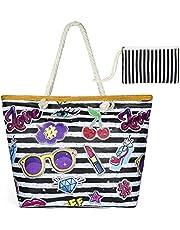 zedela Große Strandtasche mit Reissverschluss, Damen Canvas Schultertasche Tasche, Einkaufstasche für Reise, Kaufen, Ausflug usw