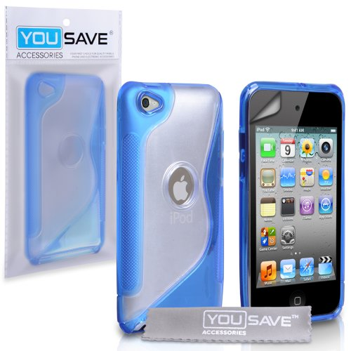 Stylish Blue S-Line Silicone Gel Grip Case Cover For The Apple iPod Touch 4 4G 4th Generation With Screen Protector
