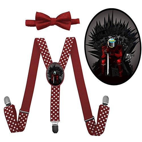 Baelish Costume (LSL Thrones Game Suspender+Bow Tie/Unisex Suspender/Adjustable Suspender/Y-Back Suspender(Red))