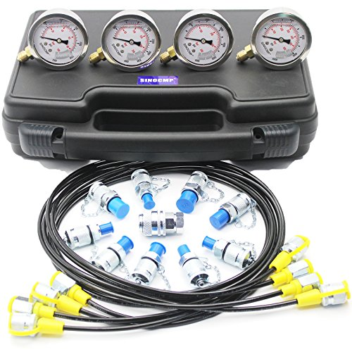 Hydraulic Pressure Gauges Kit - SINOCMP Hydraulic Gauge Kit for Komatsu Excavator, 10 Couplings, 4 160cm Long Test Hoses and 4 Pressure Gauges, Lightweight Black Plastic Box 3KG, 2 Year Warranty ()
