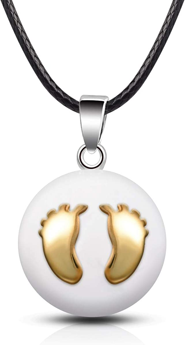 EUDORA Harmony Ball Llamador de Angeles Embarazada Collares de Mujer, Colgantes de Mujer Primer Embarazo Mamá Regalos Originales para Mujer Hermana, 61CM +114,3CM
