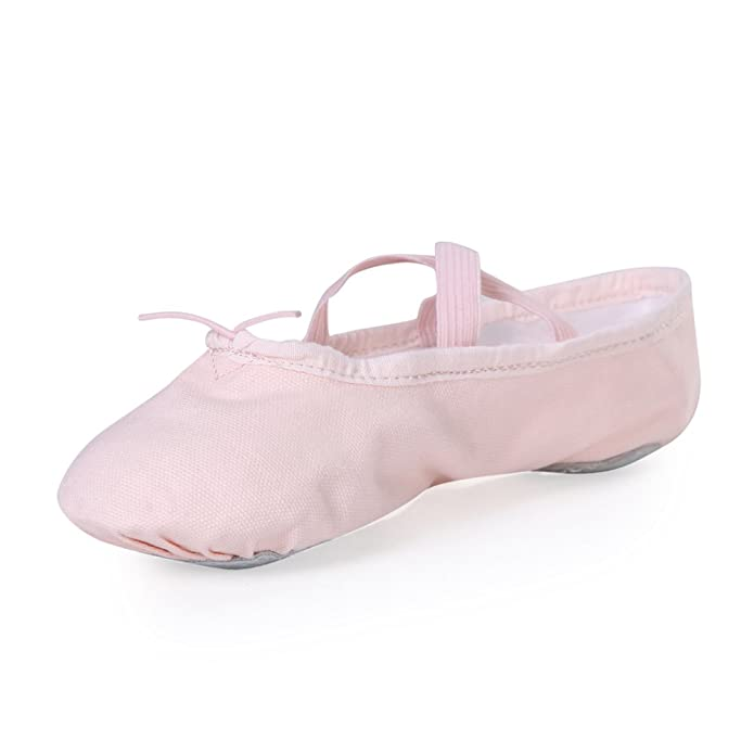 STELLE Girls Canvas Ballet Slipper/Ballet Shoe/Yoga Dance Shoe (Toddler/Little Kid/Big Kid/Women/Boy)(5MT, Ballet Pink)