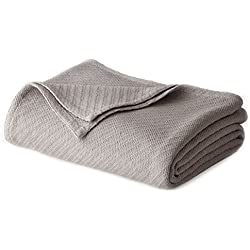 Cotton Craft - 100% Soft Premium Cotton Thermal Blanket - Twin Grey - Snuggle in these Super Soft Cozy Cotton Blankets - Perfect for Layering any Bed - Provides Comfort and Warmth for years