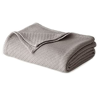 COTTON CRAFT - 100% Super Soft Premium Cotton Herringbone Twill Thermal Blanket - King Grey