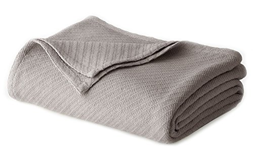 Cotton Craft - 100% Soft Premium Cotton Thermal Blanket - Full/Queen Grey - Snuggle in these Super Soft Cozy Cotton Blankets - Perfect for Layering any Bed - Provides Comfort ()