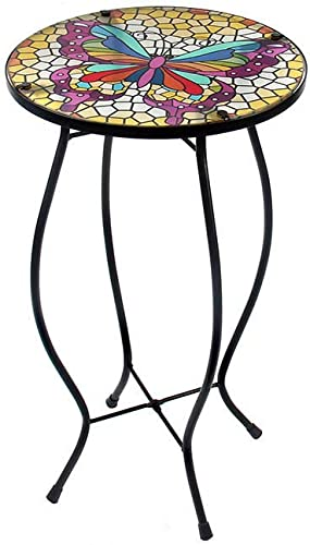 Liffy Outdoor Side Table Butterfly Mosaic Bench Small Patio Round Printed Glass Decoration