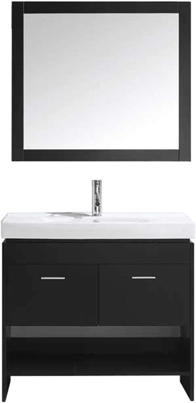Virtu USA Gloria 36 inch Single Sink Bathroom Vanity Set in Espresso w Integrated Square Sink, White Ceramic Countertop, Single Hole Polished Chrome, 1 Mirror – MS-555-C-ES-010
