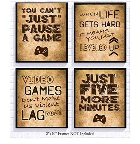 Video Game Themed Art Print Room Wall Decoration (Set or Four) Gamer (Dirt)