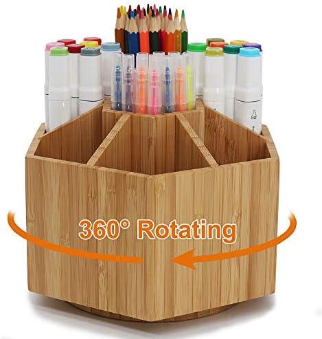 Bamboo Rotating Art Supply Organizer, Pezin &...