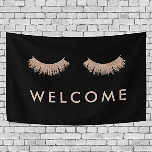 TSWINW Wall Tapestry Stylish Black Rose Gold Eyelashes Welcome Wall Hanging Tapestry Nature Home Decorations Blanket for Living Room Bedroom Dorm Wall Decor Art Tapestry -