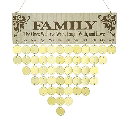 YuQi Family&Friends Birthday Reminder Calendar, Wooden DIY Board, Hanging Plaque Ornaments for Home Wall Decor (Family,Friends + Round ()