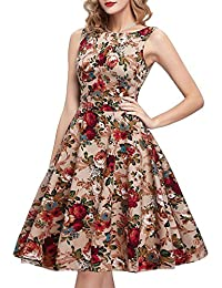 Vintage Tea Dress 1950 s Floral Spring Garden Retro Swing Prom Party  Cocktail Dress for Women 050e05d7bafa