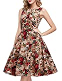 IHOT Women's Vintage Floral Dresses Elegant Casual Party Cocktail Wedding Night, Apricot Floral, Large
