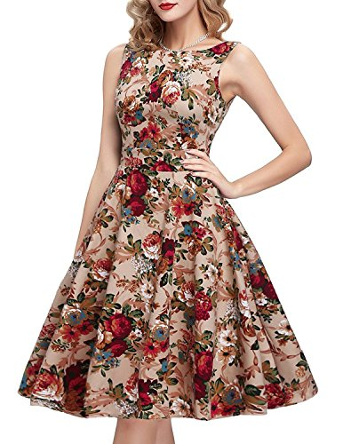 IHOT Vintage 1950's Floral Spring Garden Party Picnic Dress Party Cocktail Dress for Women Apricot Floral (Garden Party Dress)