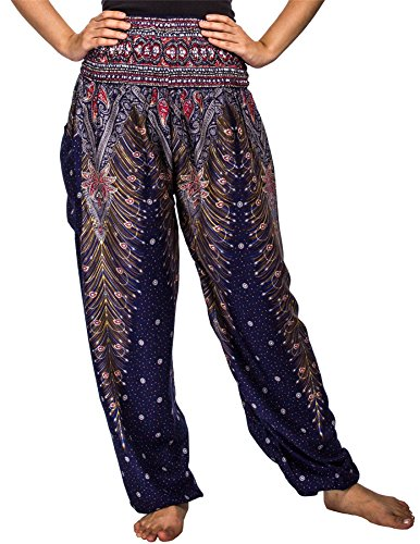 Lofbaz Women's Peacock Print Smocked Waist Harem Pants Dark Blue XL